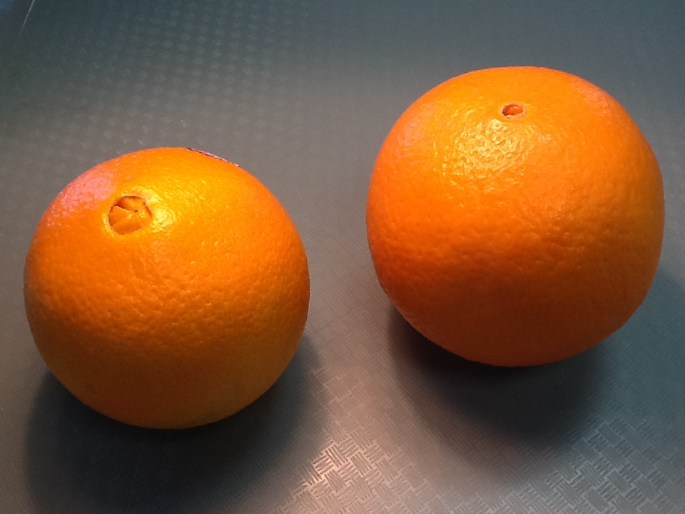 two round oranges