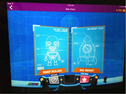 Screenshot of A-Z reward page which is not accessible, depicting earned accessories for the robot.