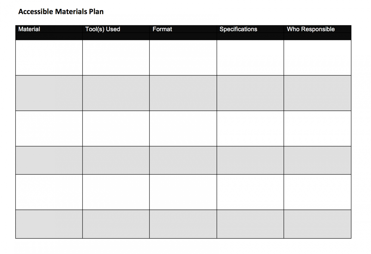 Accessible Materials Plan