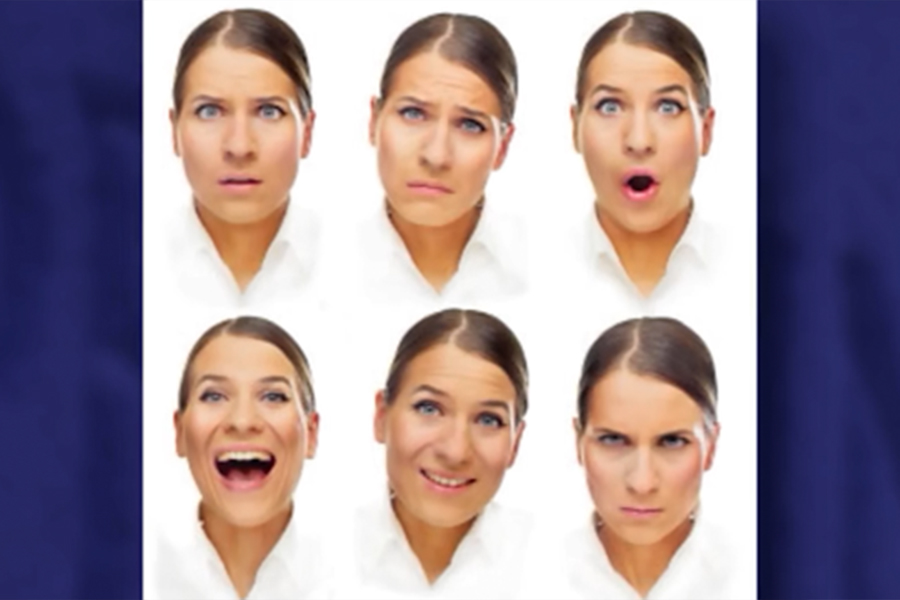 Example of a person's face with a variety of facial expressions that makes it difficult for a chilc with cvi to distinguish.