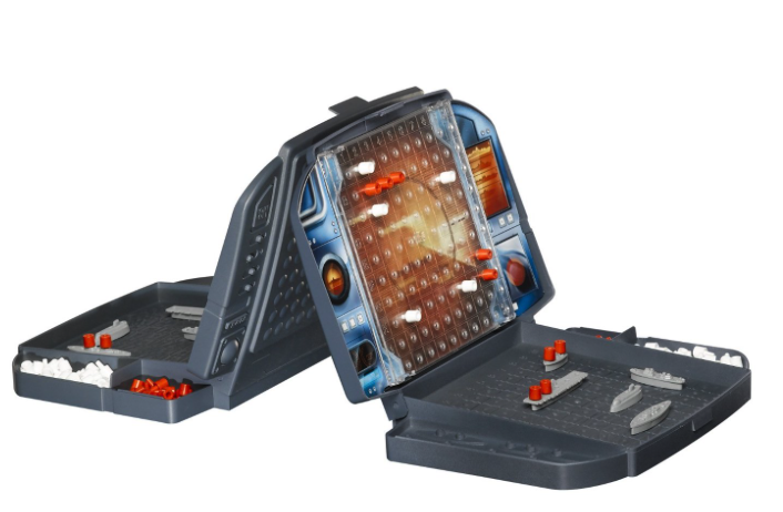 Battleship game: each player has a clamshell board with two grids.  The bottom grid has his displays his ships and the upper grid shows the pegs where he has searched for his opponent's ships.