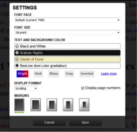 Beeline screenshot of Settings with color scheme options.