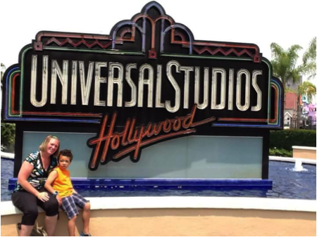 Teresa Peterson with her son, Amare in front of Universal Studios.