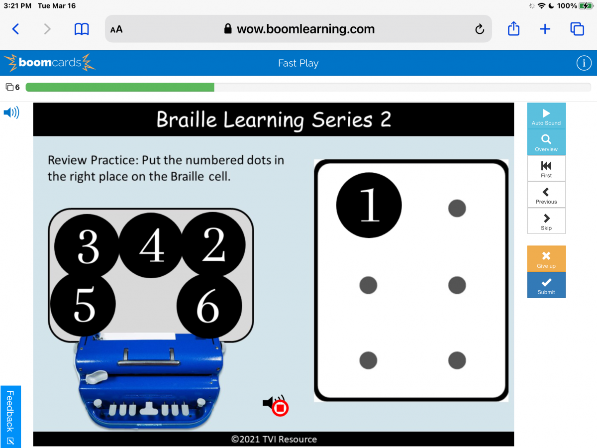 Screenshot of Perkins Brailler Boom Deck, with draggable numbers 1-6 to be placed in the correction location in a braille cell.