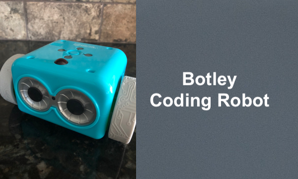 "Photo of a Botley robot (cube with two wheels, eyes and buttons) and text, ""Botley Coding Robot"""