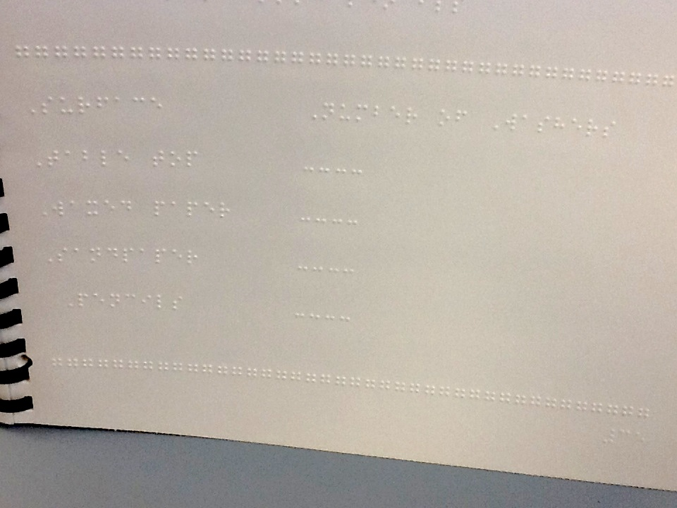 Braille table