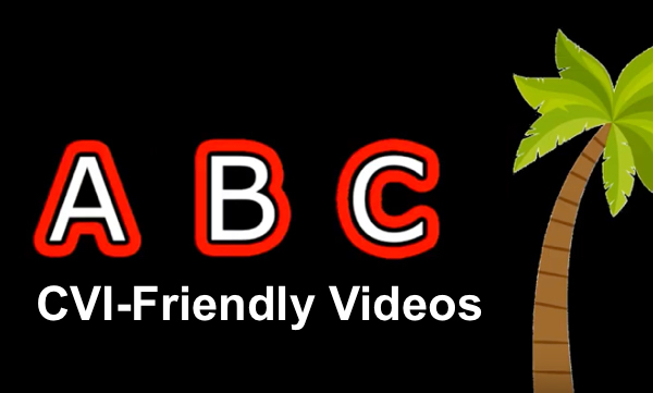 Screenshot of CVI-Friendly Chicka Chicka Boom Boom video with outlined A, B, C and palm tree.