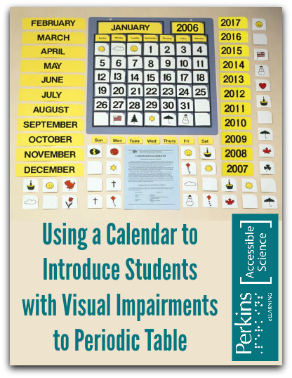 periodic table introduction using a calendar collage