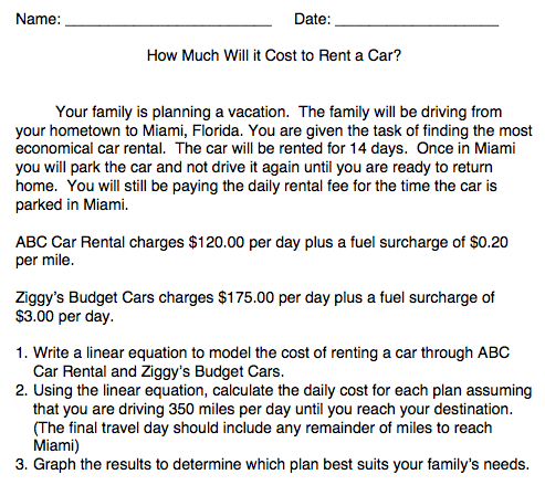 how much will it cost to rent a car worksheet