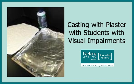 "Collage with image of casting plaster activity set up with text ""Casting with Plaster with Students with Visual Impairements"""