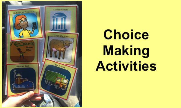 Using laminated symbols, students learn to select the app the want to play.