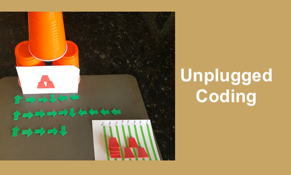 Photo of 3 cups stacked in pyramid formation, tactile coding card, arrows depicting code, & tactile code guide. Unplugged Coding