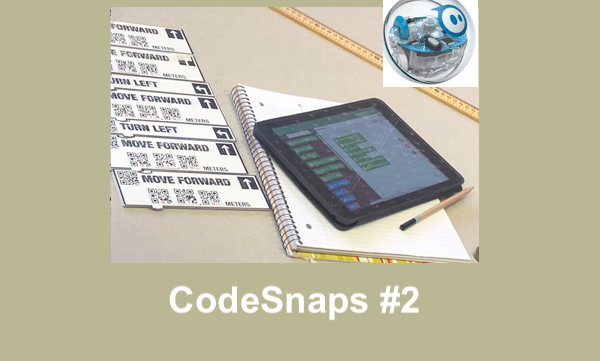 """Code Blocks sequence for Course 1, with CodeSnaps app on iPad, Sphero ball and text, """"CodeSnaps #2"""""""