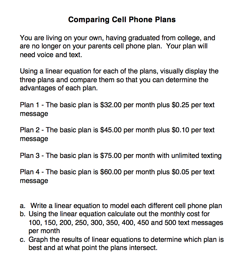 Choosing a Cell Phone Plan Using Linear Equations | Perkins ...