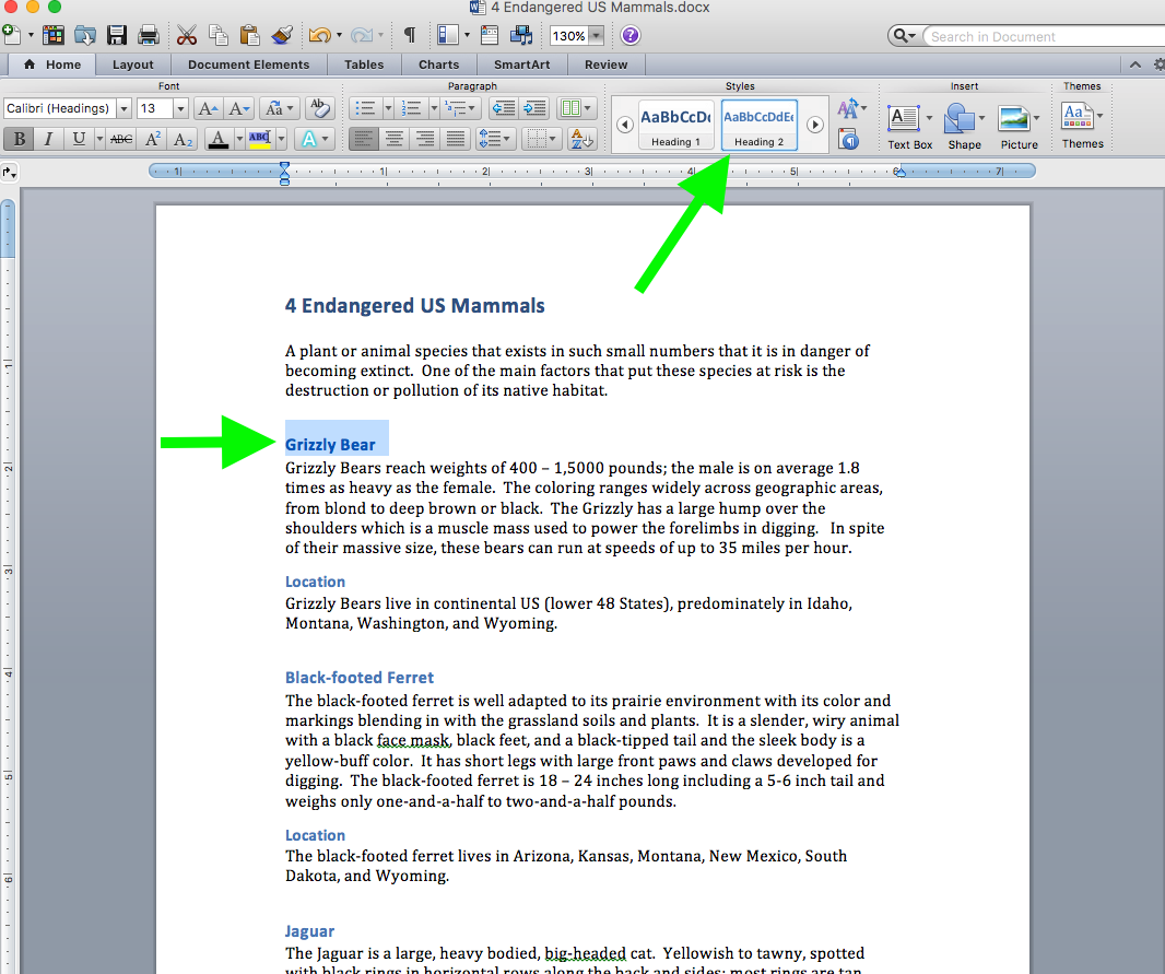 """Screenshot of the Word document, 4 Endangered US Mammals with arrows pointing to highlighted """"Grizzly Bear"""" & """"Heading 2"""" styles"""