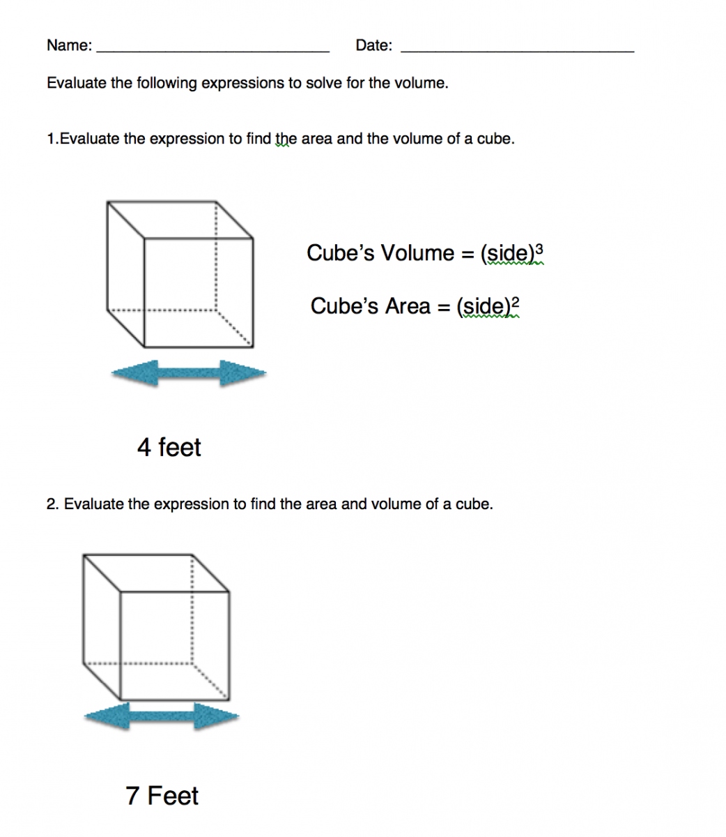 Cube Volume Worksheet Click To Download Print How To Calculate