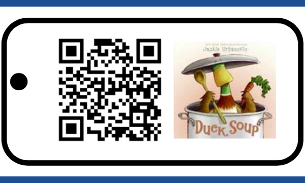 Photo of laminated card with a QR code and the image of Duck Soup book cover.