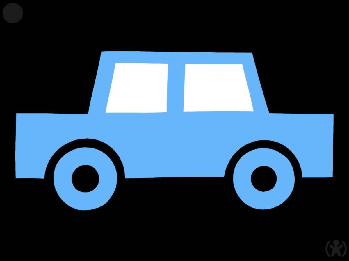screenshot of EDA Play Toby app: simple light blue car with white windows on black background.