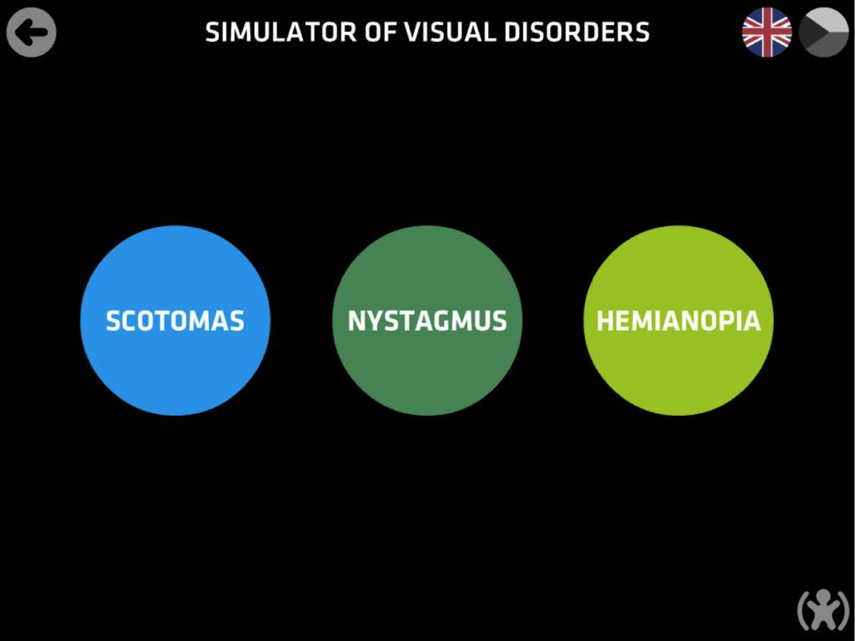 Screenshot of EDA Play Toby app: simulator of visual disorders options - scotomas, nystagmus and hemianopia.