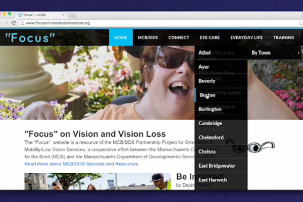 A screen capture of the home page of Focus on vision and visionloss.org. Under the heading Eye Care, a dropdown menu option reads find an eye care provider.