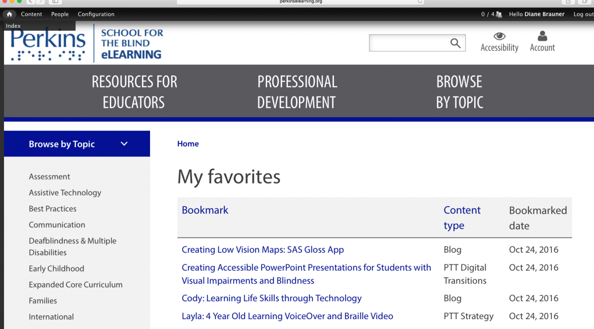 Screenshot of the Favorites page on Paths to Technology website.