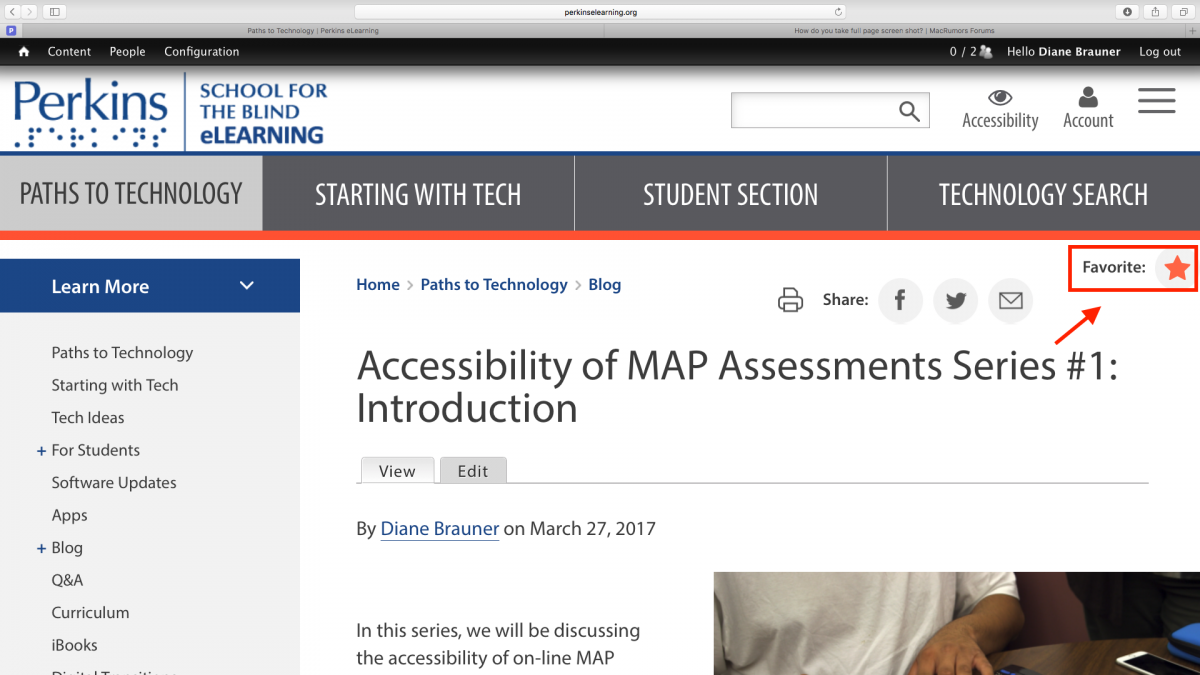 Screenshot of Accessibility of MAP Assessments post with Favorites indicated.