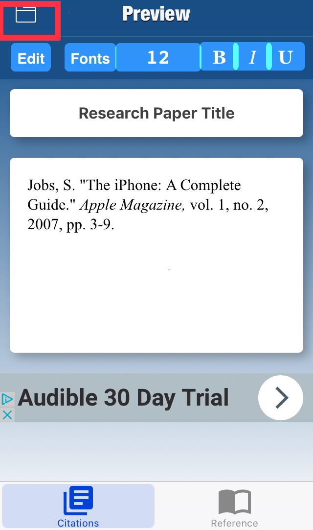 Screenshot of the Preview screen of the Cited App, includeing a compleate source citation