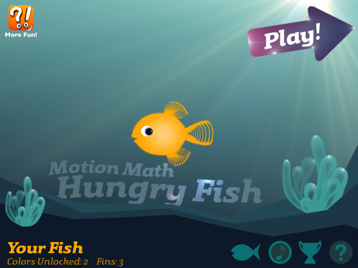 Screenshot of Hungry Fish Math App Home Screen where the inaccessible Play button is embedded in the graphic.