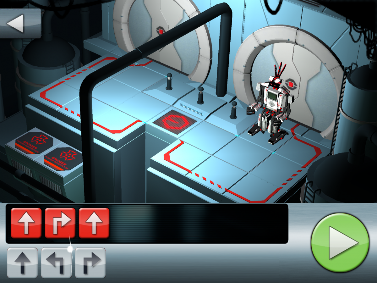 Screenshot of Fix the Factory coding app displaying a path that the robot needs to travel and arrows that player chooses to navigate the path.