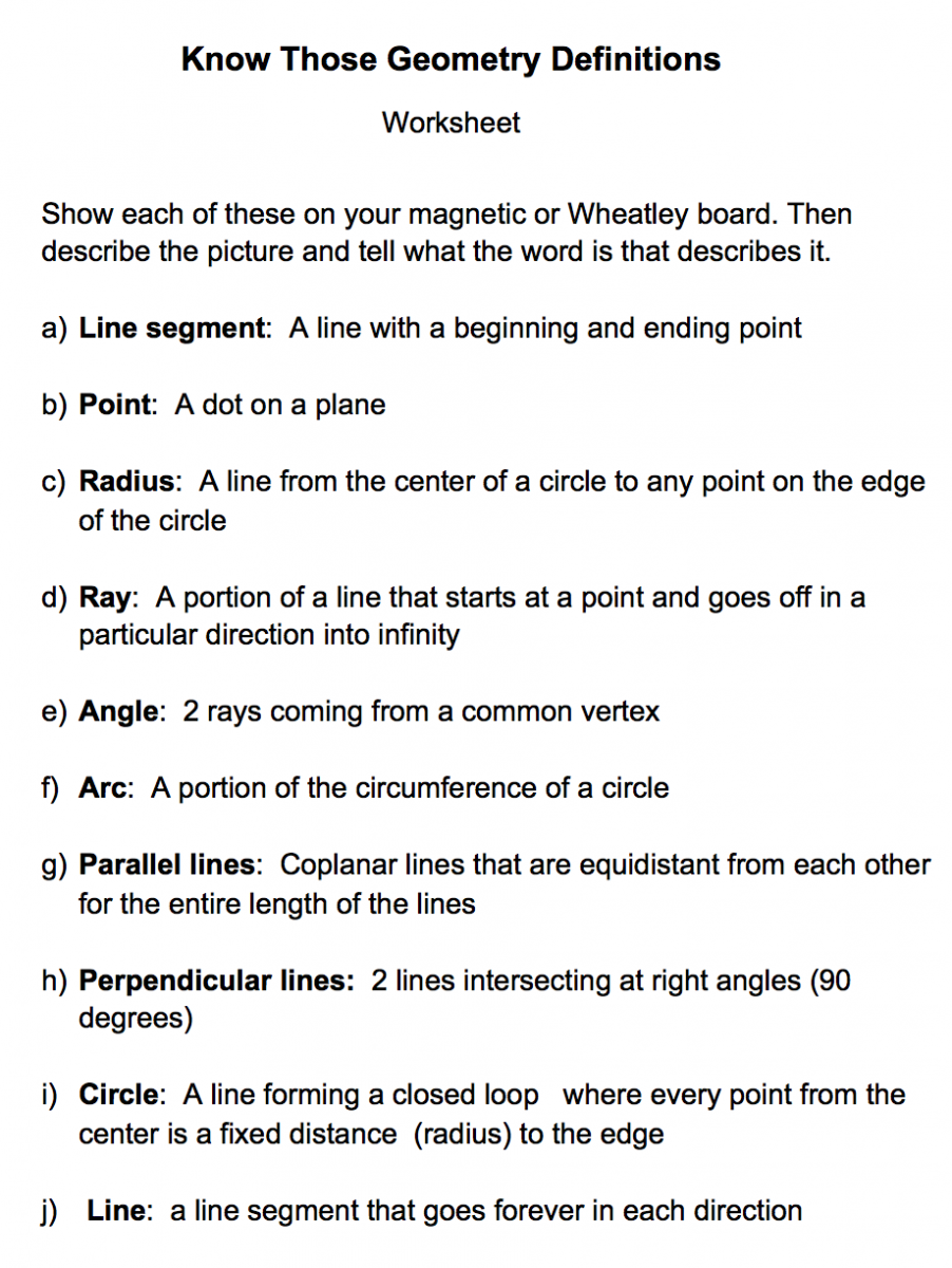 Geometry definitions worksheet