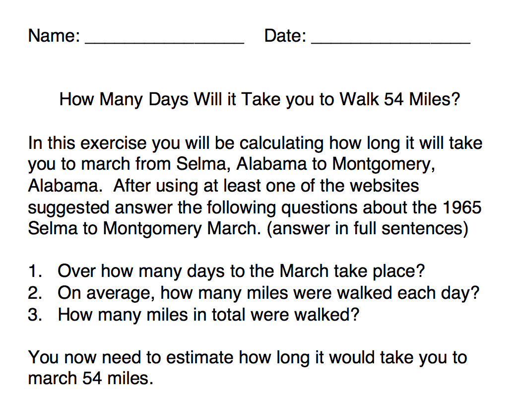 How many days will it take you to walk 54 miles