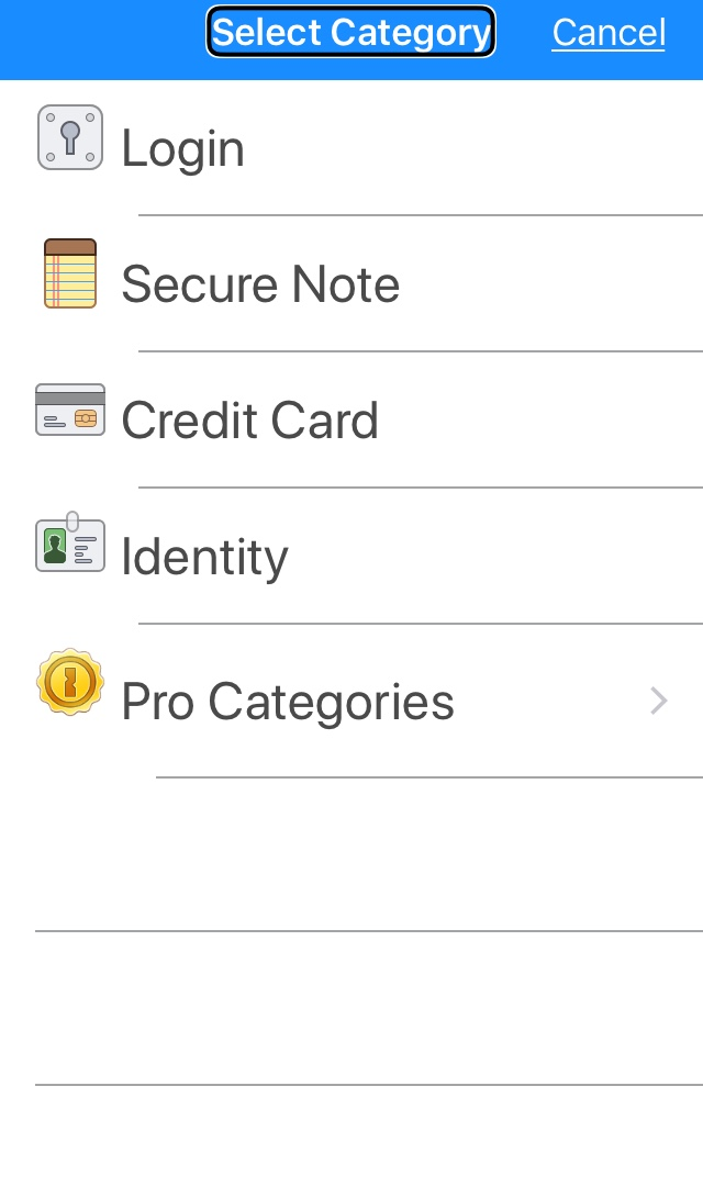 Screenshot of the options when creating a new item (login, secure note, credit card, and identity))