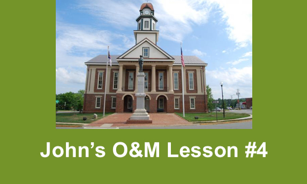 """photo of Pittsboro courthouse and text, """"John's O&M Lesson #4"""""""