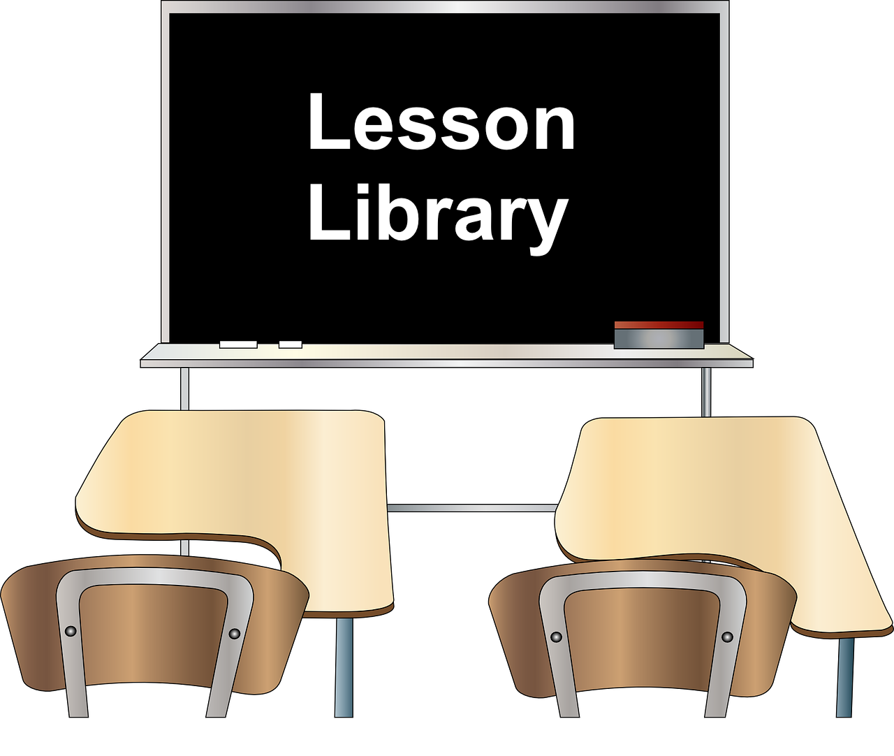 """Image of two student desks in front of a blackboard with the words, """"lesson library"""""""