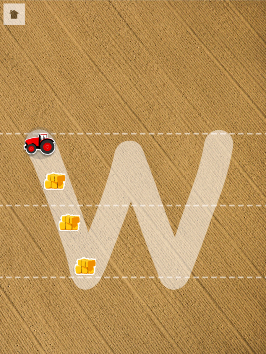 Screenshot of Little Writer app:  Letter W with a tractor at the start and bales of hay to indicate first line.