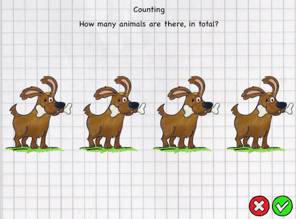 Screen shot of Counting page with four dogs.