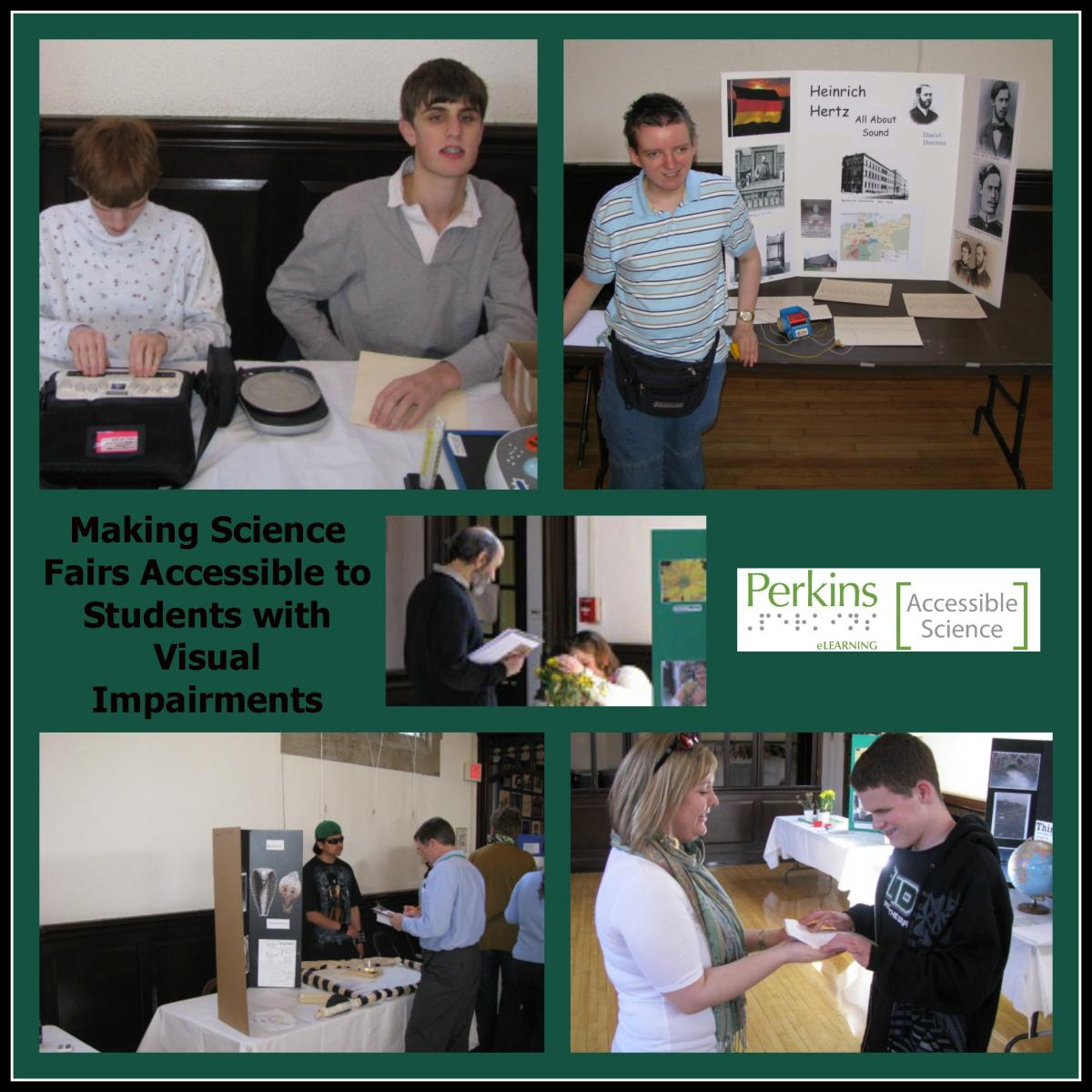 collage of making science fairs accessible to students who are blind or visuallly impaired