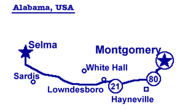 map of Selma to Montgomery route