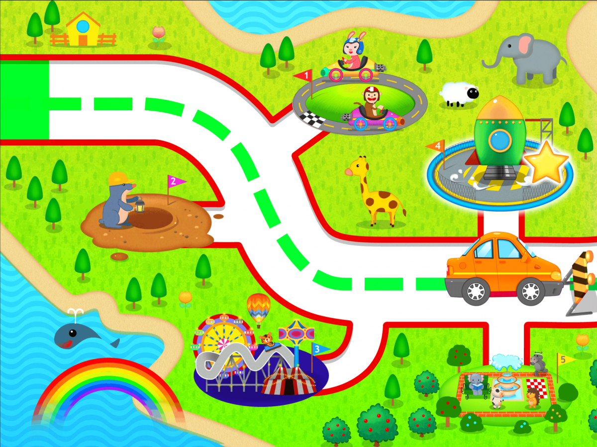 Maze 123 app: Road with car; multiple cartoon characters in the background.