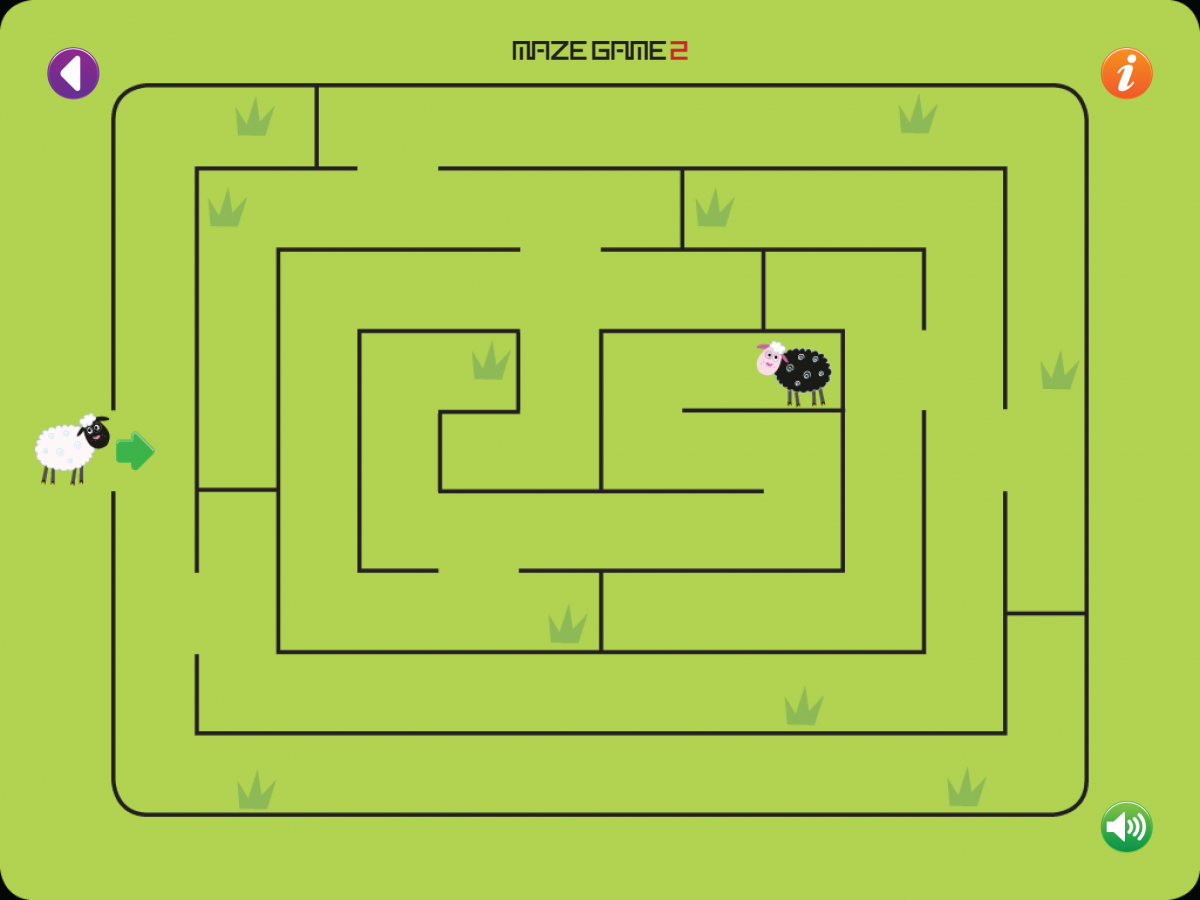 Screenshot of Maze Game 2: traditional maze with numerous dead ends.