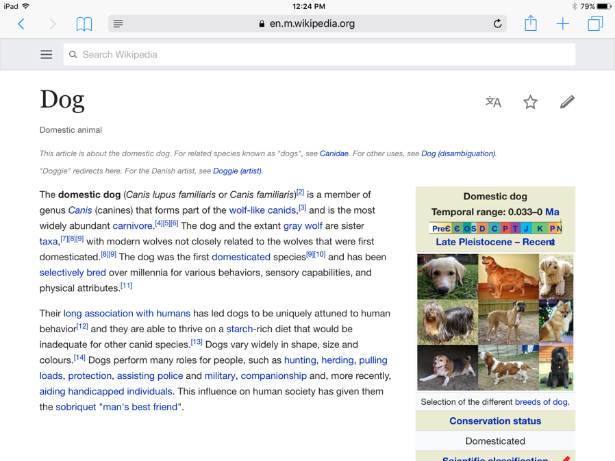 Screenshot of Wikipedia page with items in the column on the right side of the page (Reader Off).