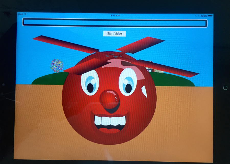 Screenshot of Ballyland Rotor app displaying the cartoon red helicopter character, Ballycopter.