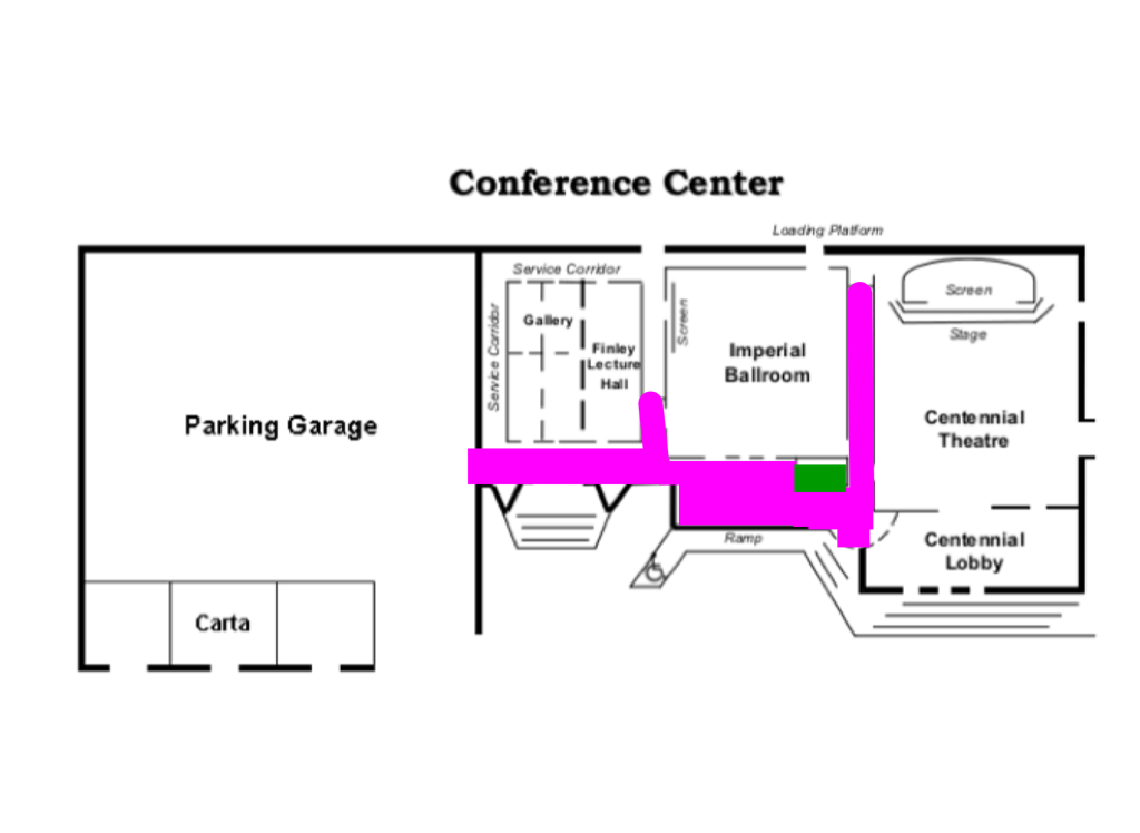SOMA Conference map with purple colored hallways.