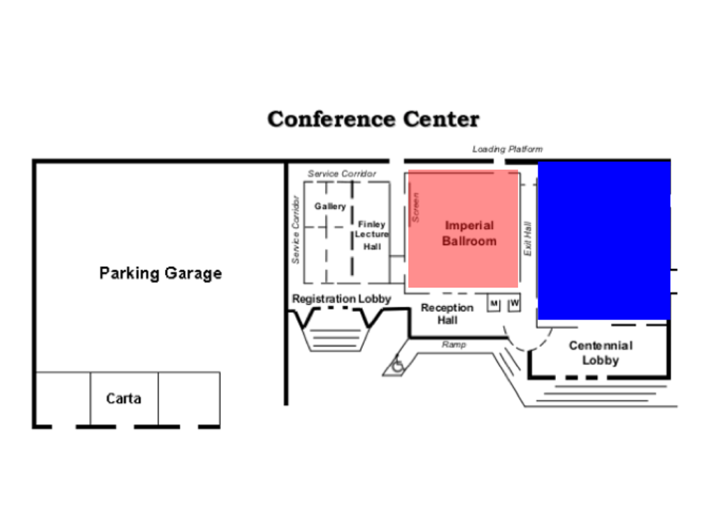 SOMA Conference map with low opacity pink over Imperial Ballroom and high opacity dark blue masking the original text.