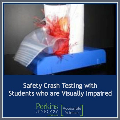 "Collage with text ""Safety crash test with students who are visually impaired"" and an image of a ""vehicle"" crashing with a raw egg on it"