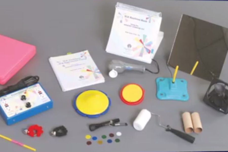 Photo of contents of the sensory learning kit that Millie Smith developed. Items that can be used to evoke a response in sensory motor learners.