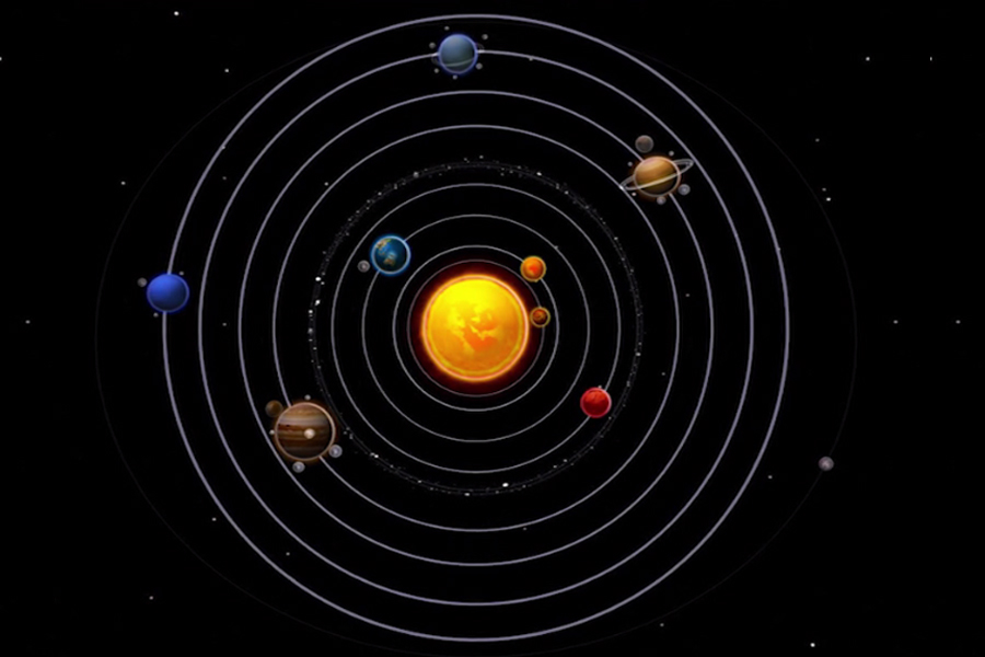 An example of a graphic illustration of our solar system and the eight planets that orbit the sun that need to be adapted for visually impaired or blind students.
