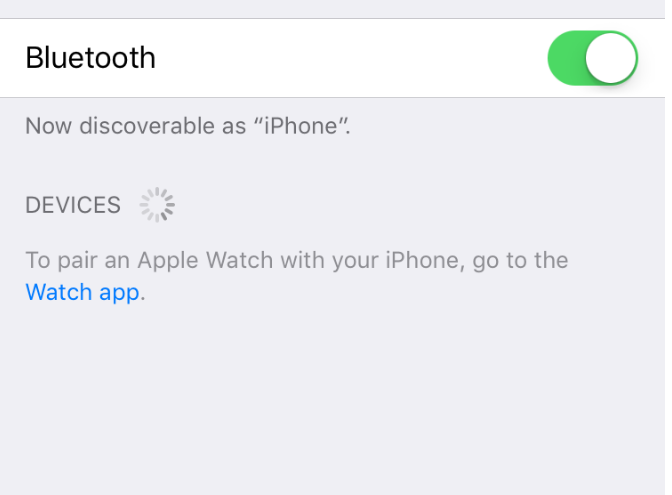 Screenshot of settings app displaying Bluetooth turned on.