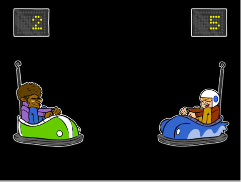 Screenshot of Bumper Cars app with two characters sitting in bumper cars and scores above the characters.