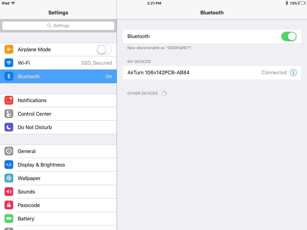Screenshot of Settings app displaying Bluetooth paired to AirTurn switch device.